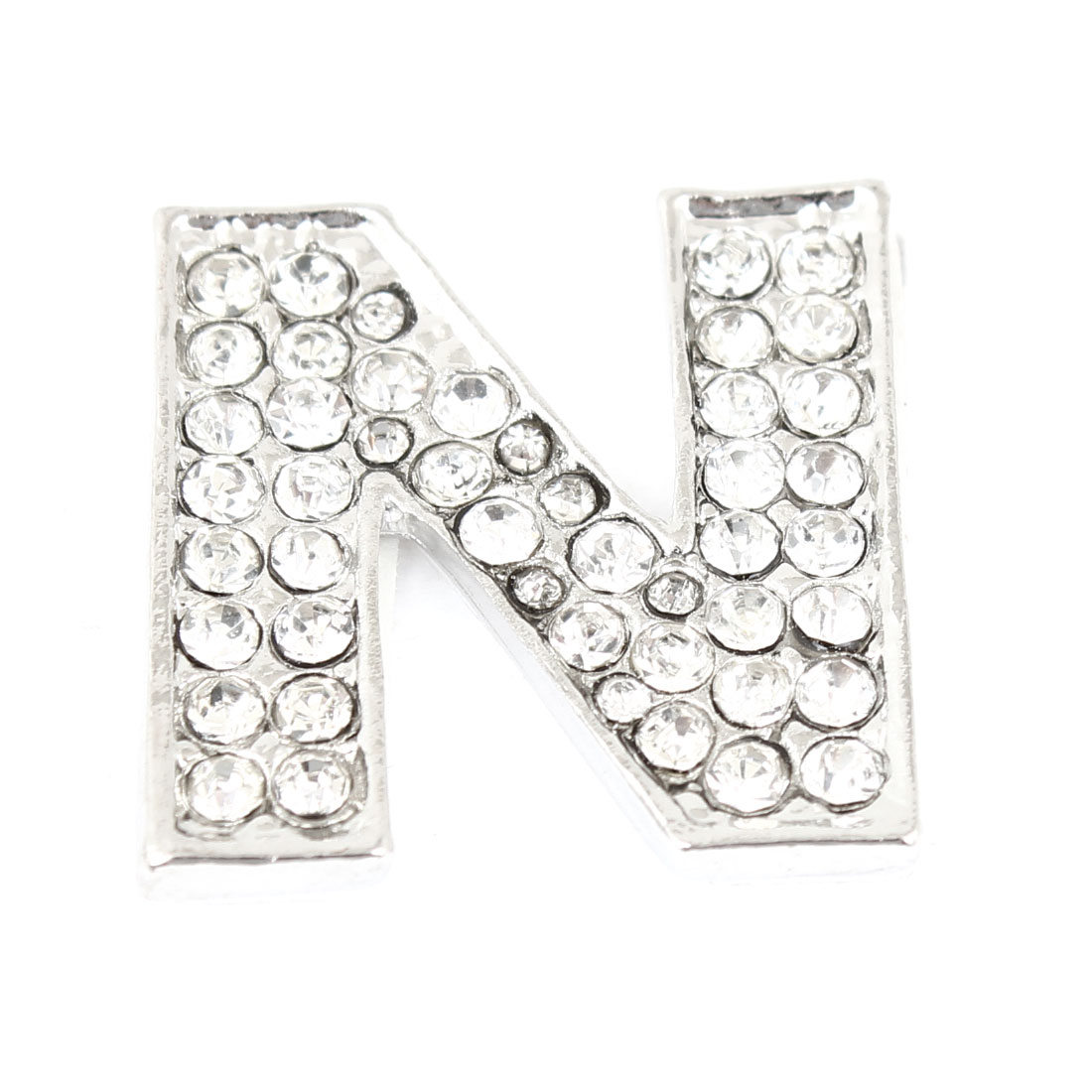 Letter N Shape Rhinestones Metal Decorative Self Adhesive 3D Sticker for Car