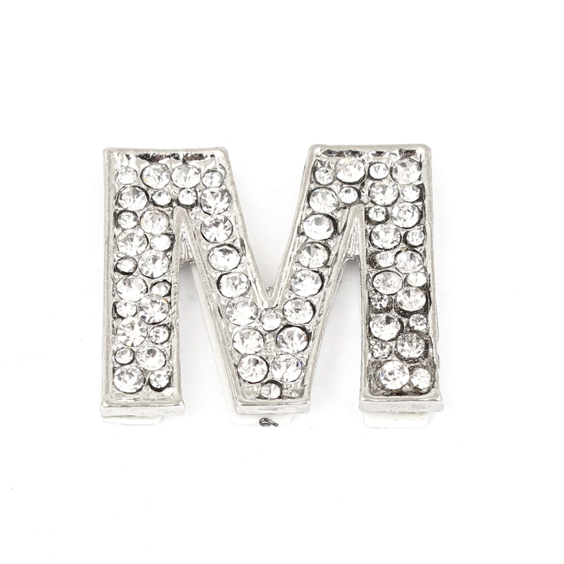 Rhinestones Detail Silver Tone Letter M Shaped Car Automobile Sticker Decoration