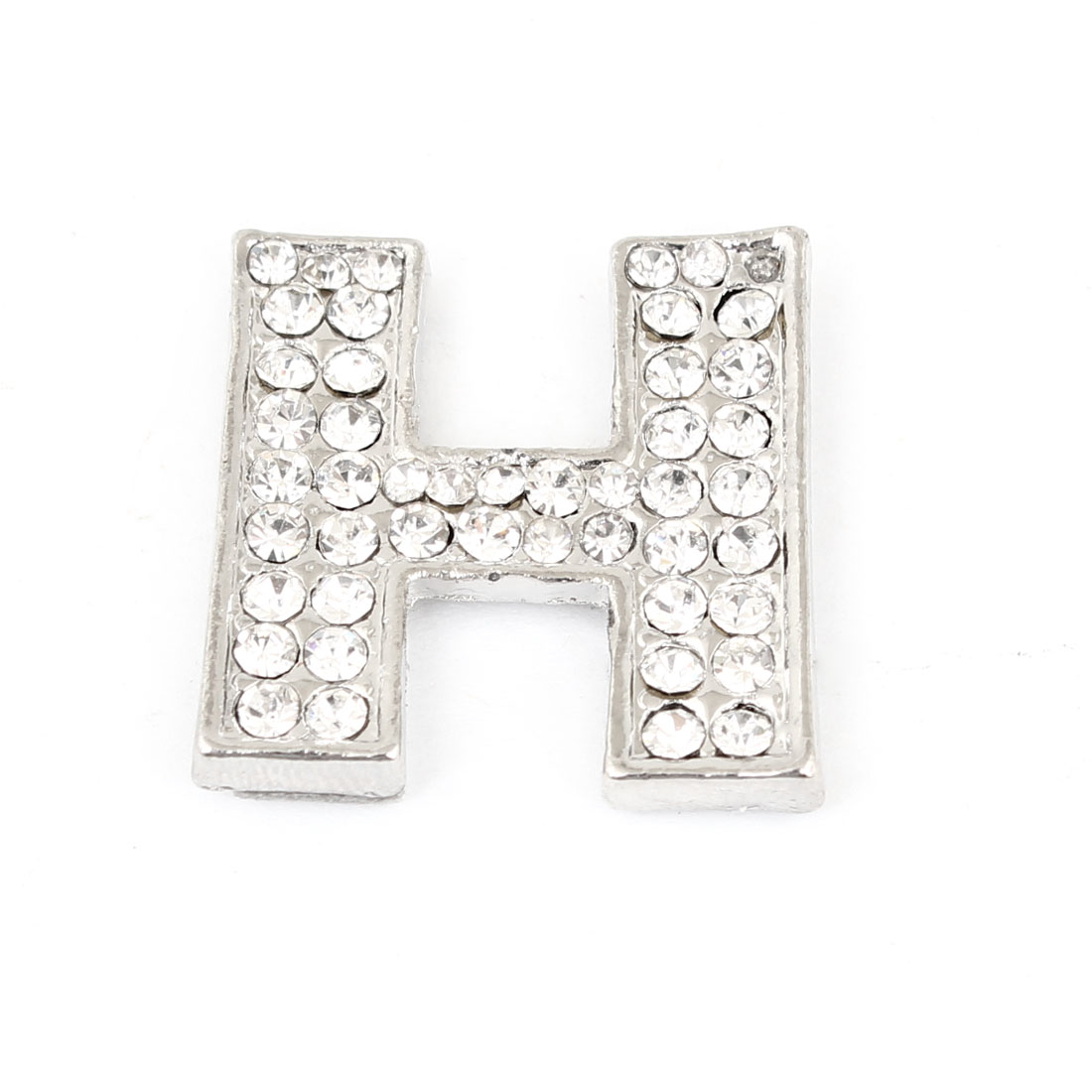 Letter H Shape Rhinestones Metal Decorative Self Adhesive Sticker for Auto Car
