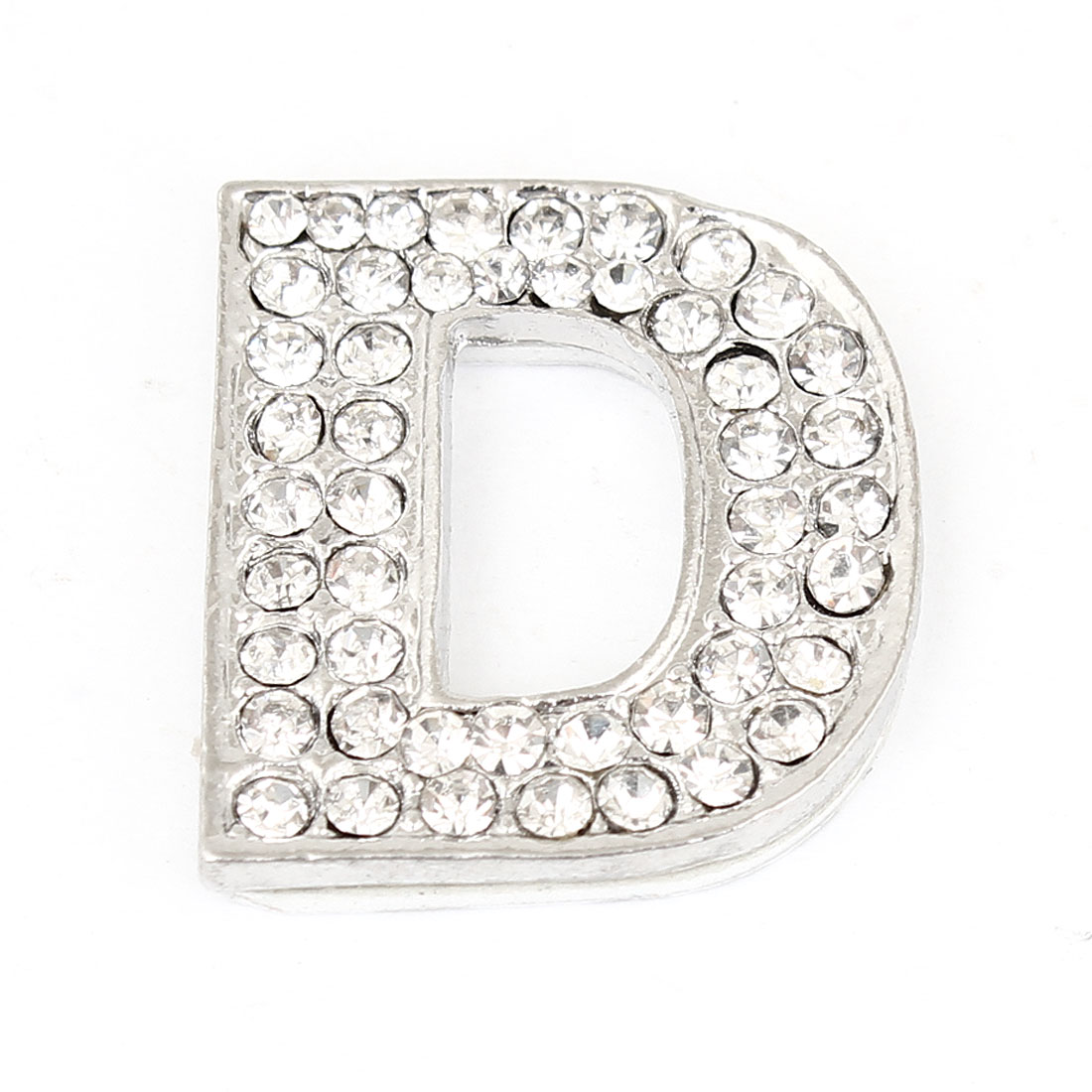 Rhinestones Inlaid Silver Tone Letter D Shaped Sticker Decoration for Car Truck