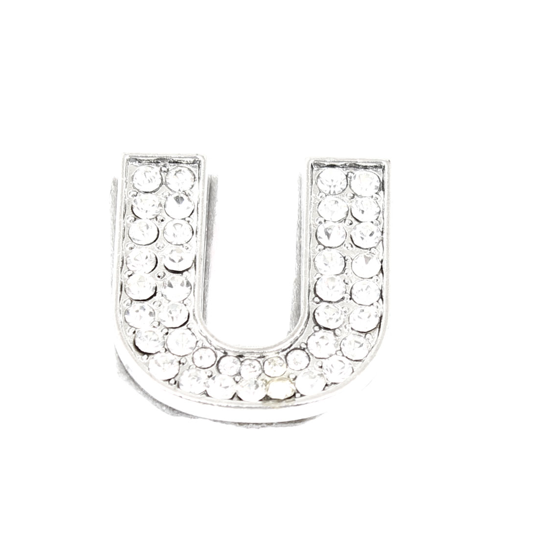 Rhinestones Detail Silver Tone Letter U Shaped Sticker Decoration for Car Truck