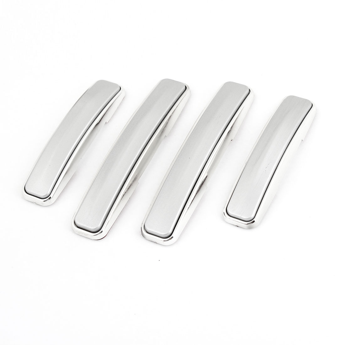 4 Pcs Silver Tone Gray Plastic Side Door Guard Protection Sticker for Auto Car