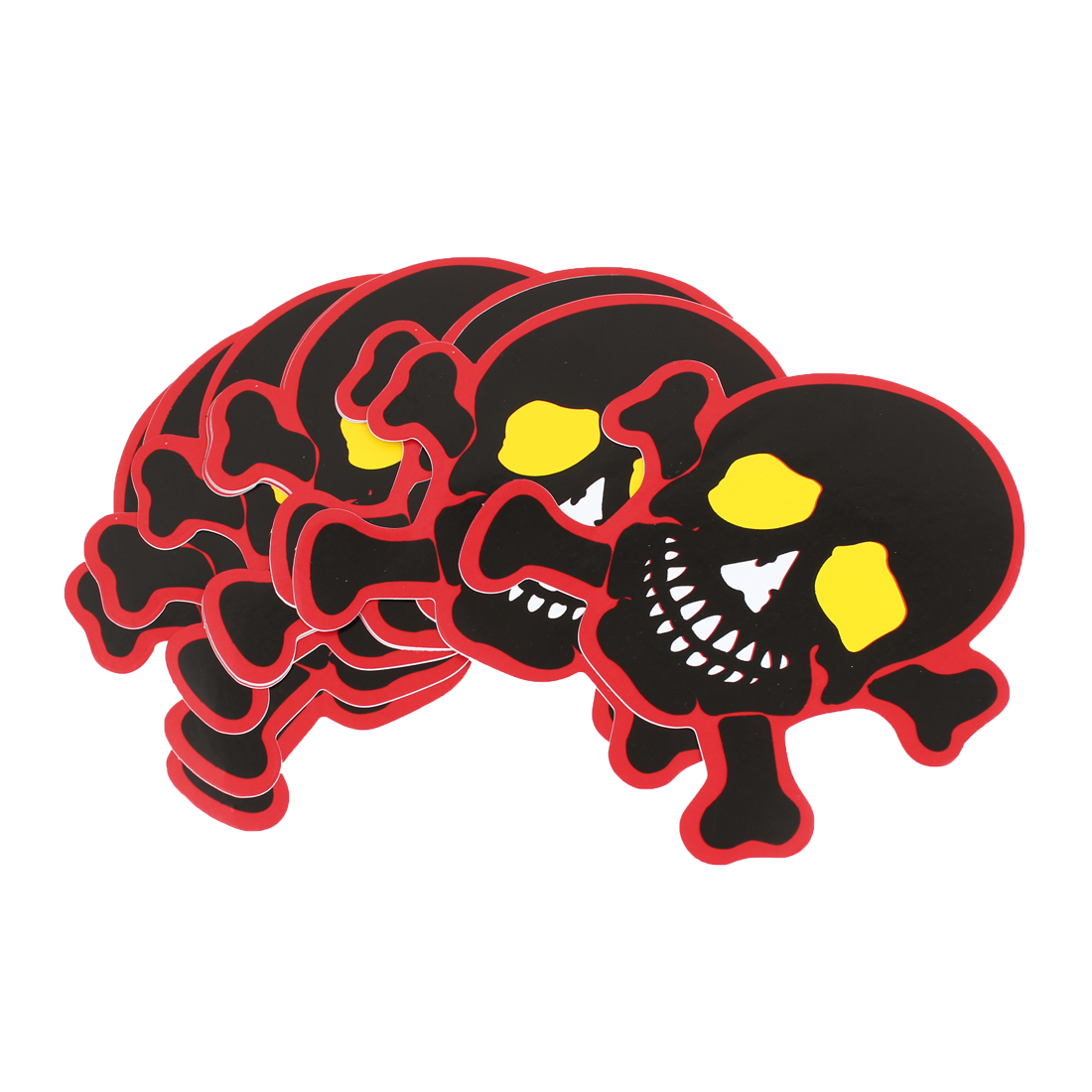 10pcs 11cm x 12cm Black Red Skull Head Pattern Sticker Decor for Car
