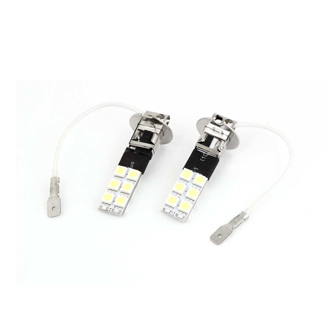 2 Pcs H3 12 White 5050 SMD LED Automotive Car Flash Fog Light