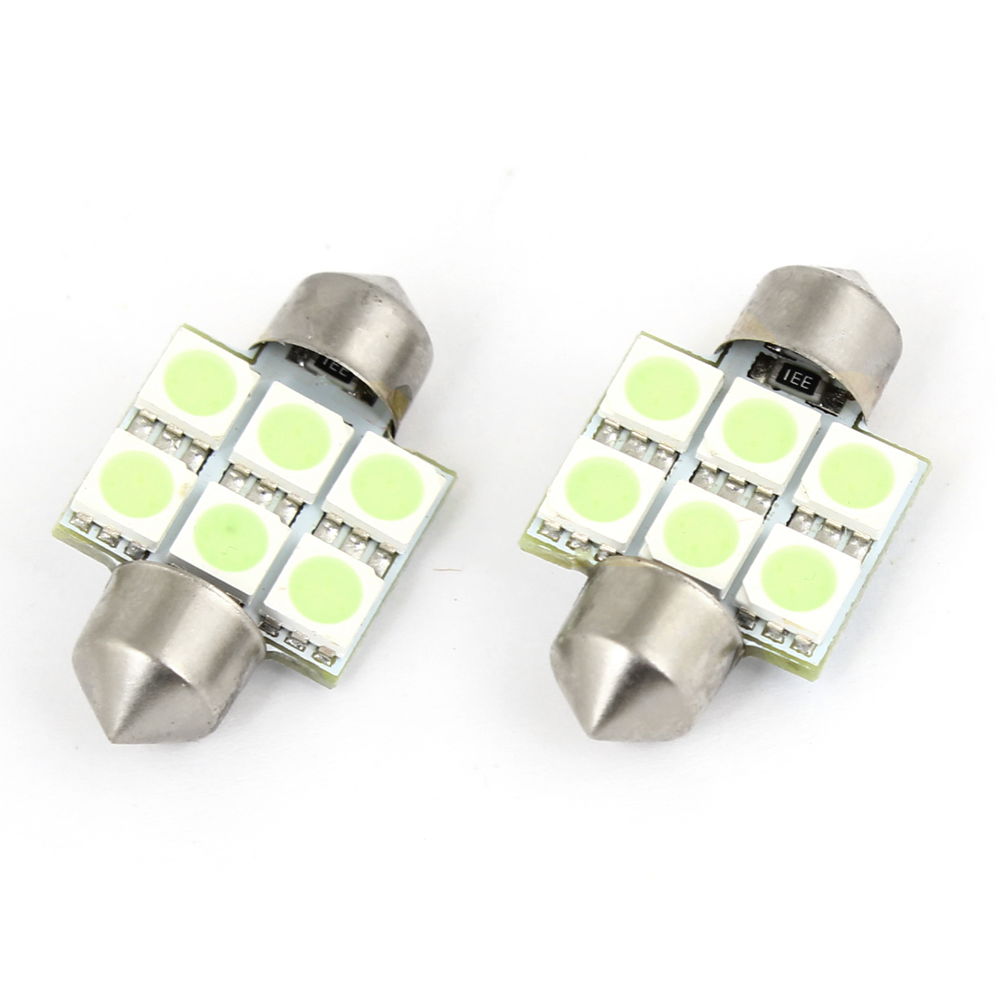 31mm Ice Blue 6 5050 SMD Festoon LED Light Dome Lamp Bulb 2pcs 3175 for Auto