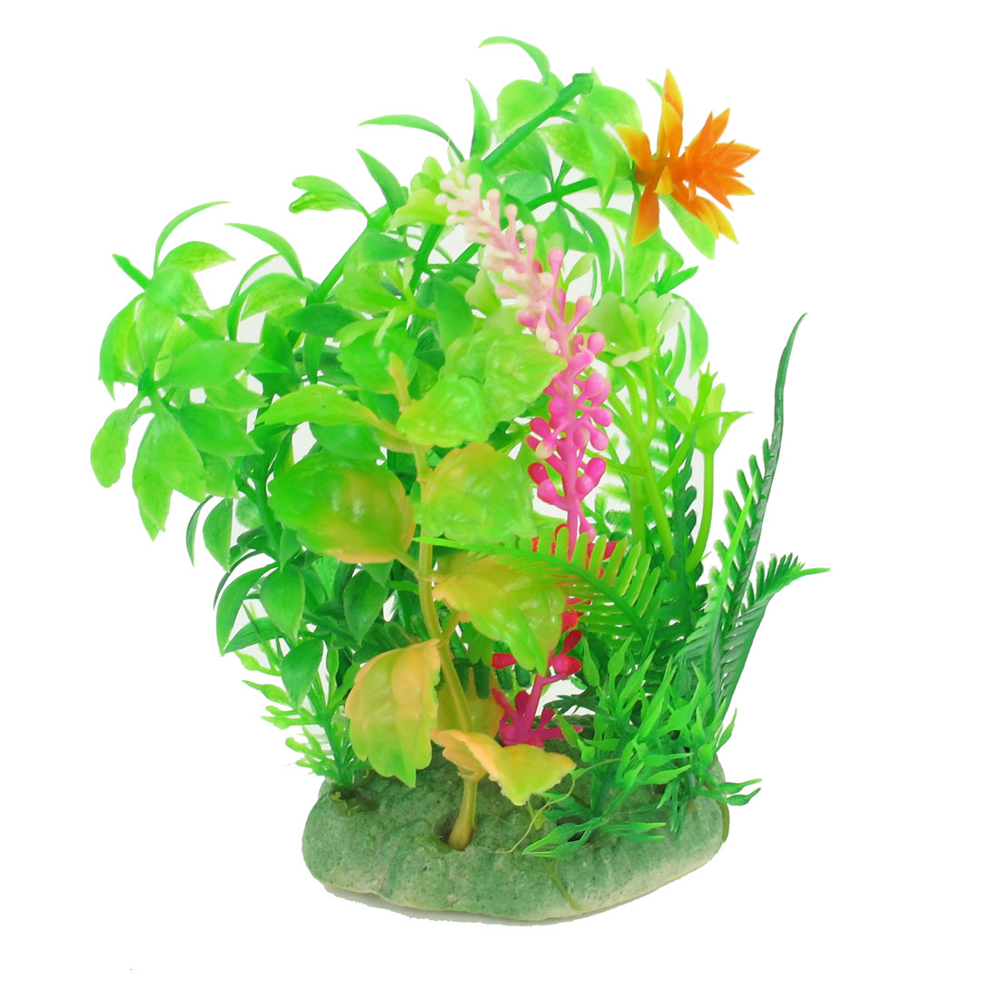 "5.1"" High Aquarium Landscaping Manmade Water Flower Plant Green Fuchsia"