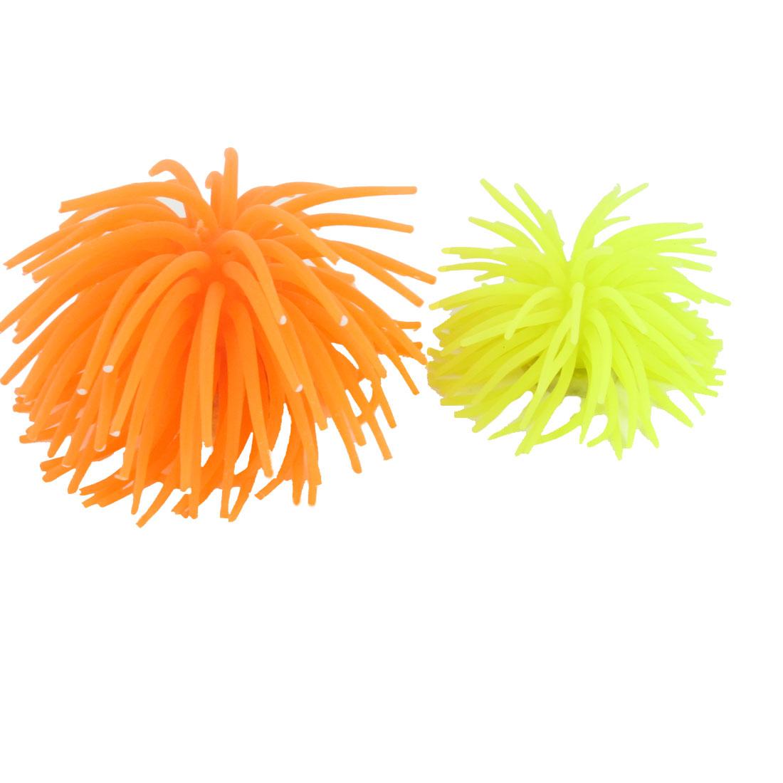 2 Pcs Ceramic Base Orange Yellow Silicone Aquarium Artificial Decoration Corals