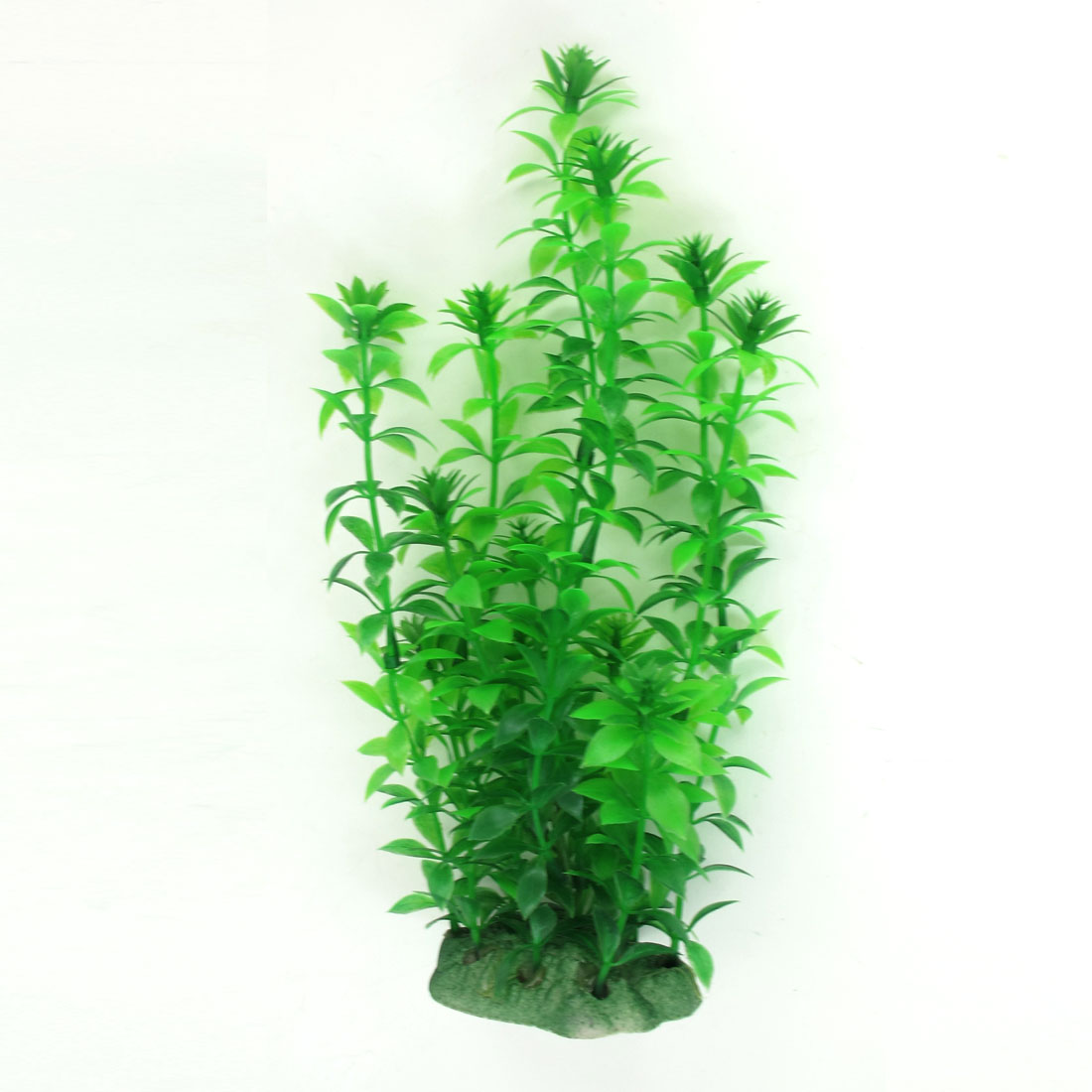 Ceramic Base Green Underwater Plastic Plant 22cm High for Fresh Aquarium