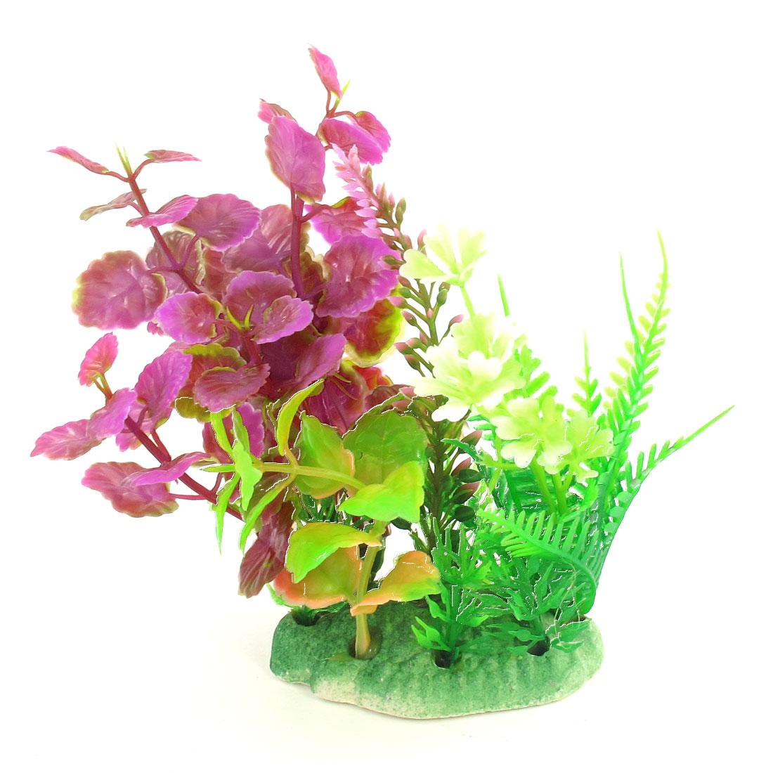 "Emulational Aquarium Plant Adorn Green Magenta 5.1"" Height for Fishbowl"