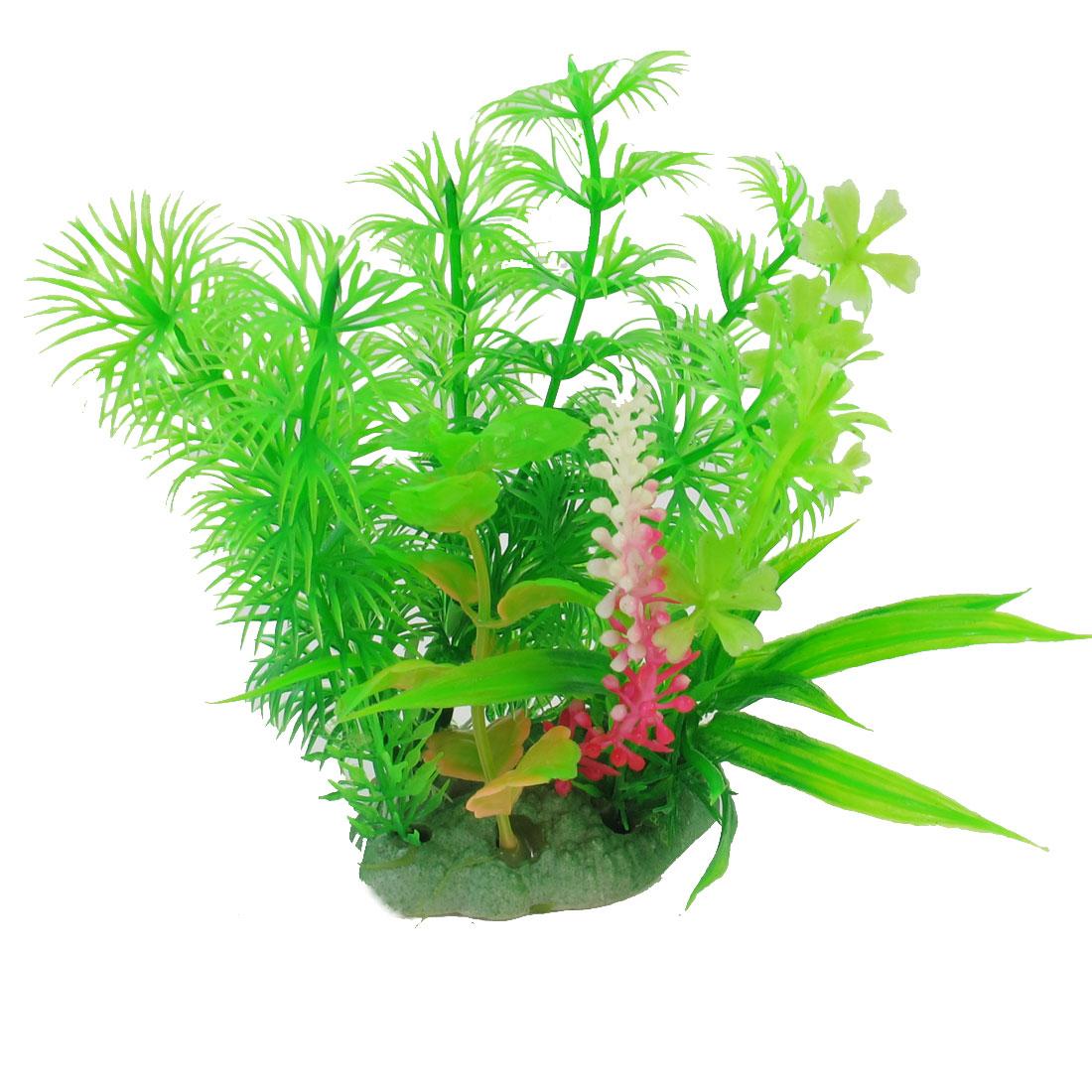 12.5cm High Green Fuchsia Underwater Plastic Plant Decor for Aquarium