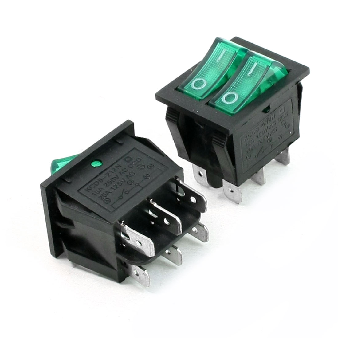 Green Light SPST ON/OFF Double Snap in Rocker Switch AC 15A/250V 20A/125V 2 Pcs
