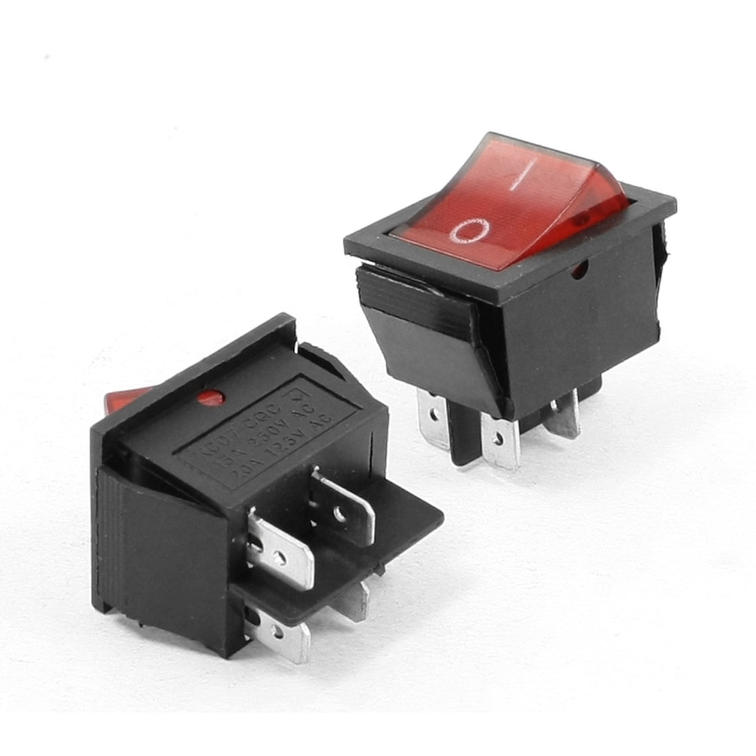 Red Neon Light DPST ON/OFF Snap in Rocker Switch AC 15A 250V/20A 125V 2 Pcs