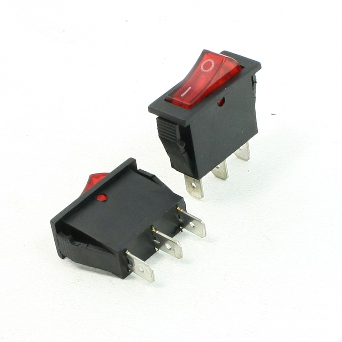 2 Pcs AC 15A 250V 125V 20A SPST On/Off Red Neon Light Rocker Switch