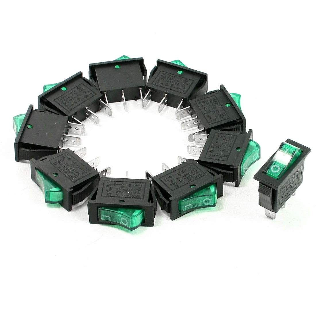 10 Pcs AC 15A 250V 125V 20A SPST On/Off Green Neon Light Rocker Switch