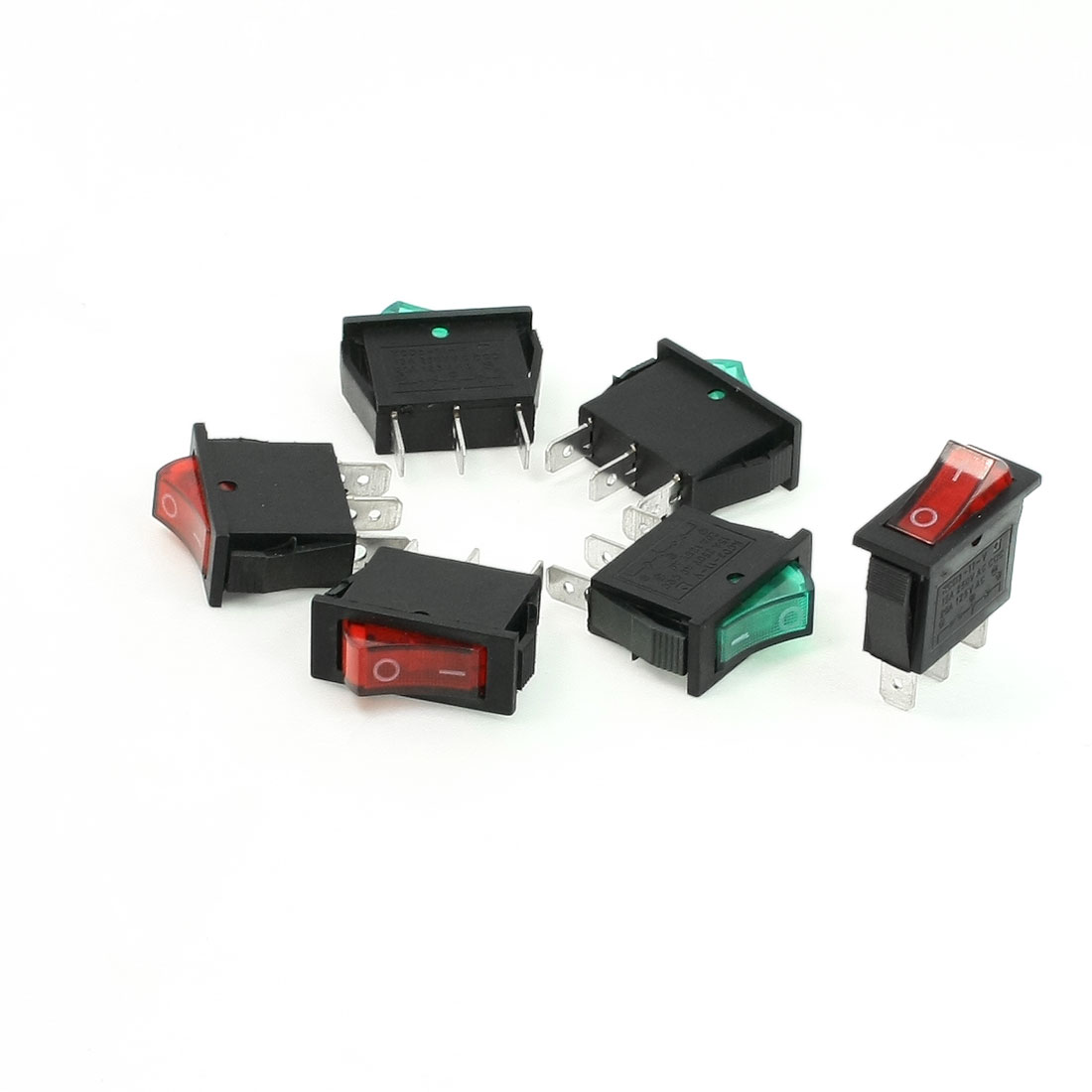 6 Pcs AC 15A 250V 125V 20A SPST On/Off Green Red Neon Light Rocker Switch