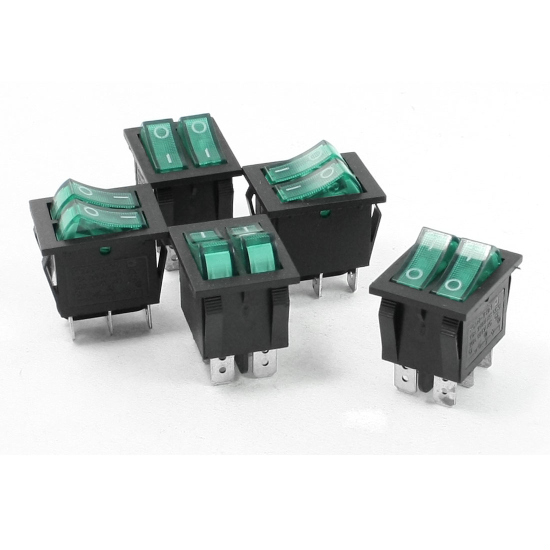 Green Illuminated Light On/Off 2 Boat Rocker Switch 15A/250V 20A/125V AC 5 Pcs