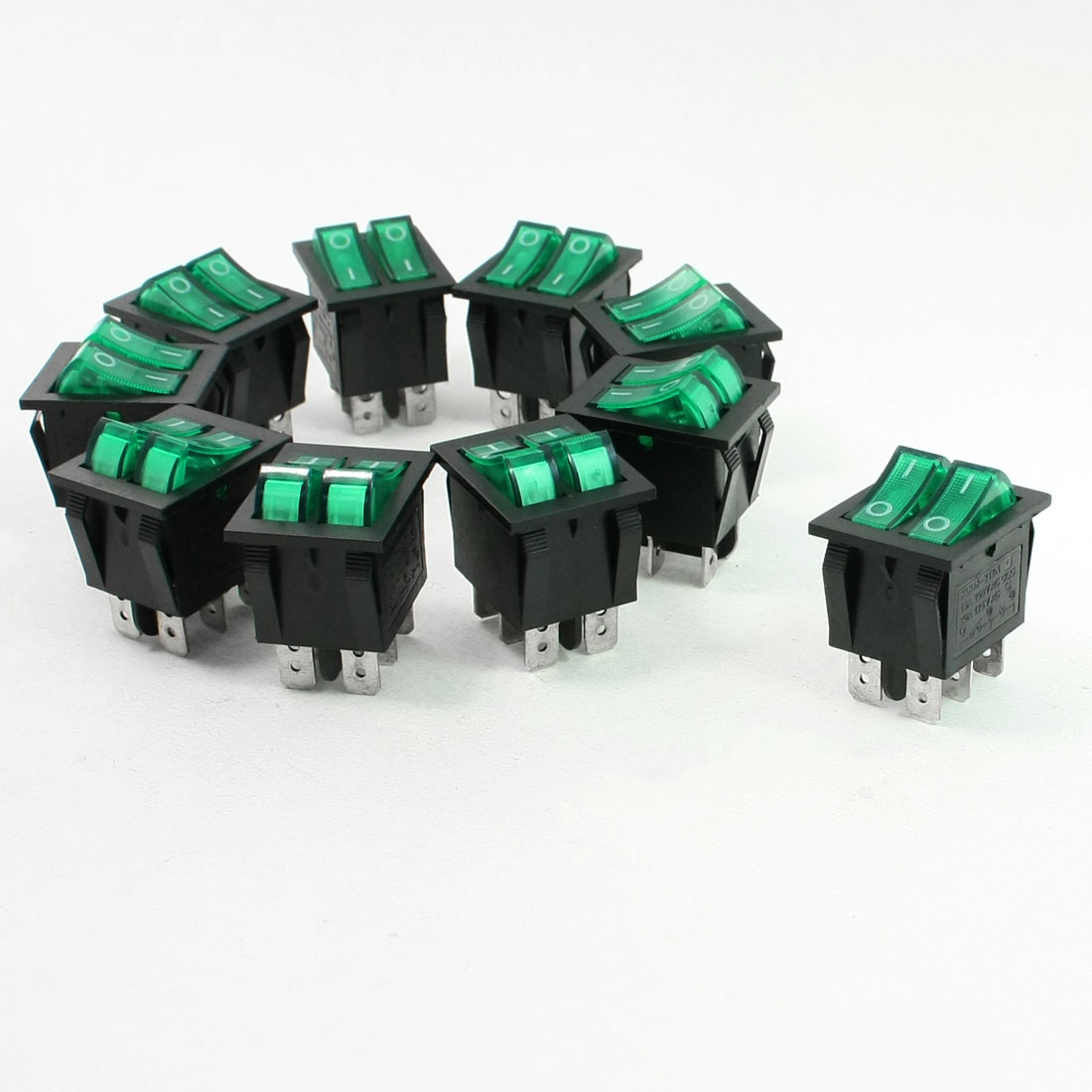Green Illuminated Light On/Off 2 Boat Rocker Switch 6A/250V 20A/125V AC 10 Pcs