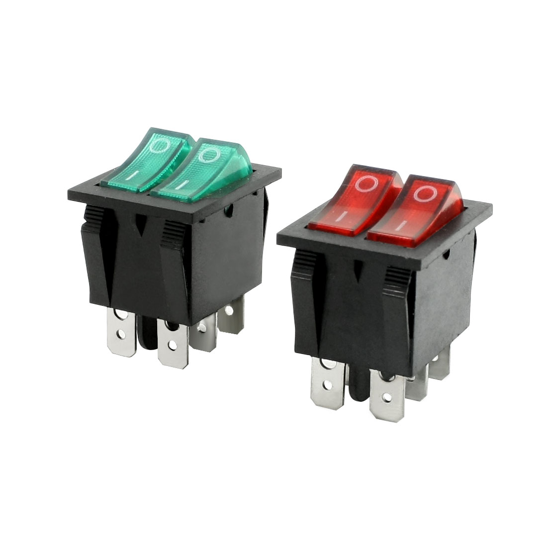 Red Green Illuminated Light On/Off Boat Rocker Switch 6A/250V 20A/125V AC 2 Pcs