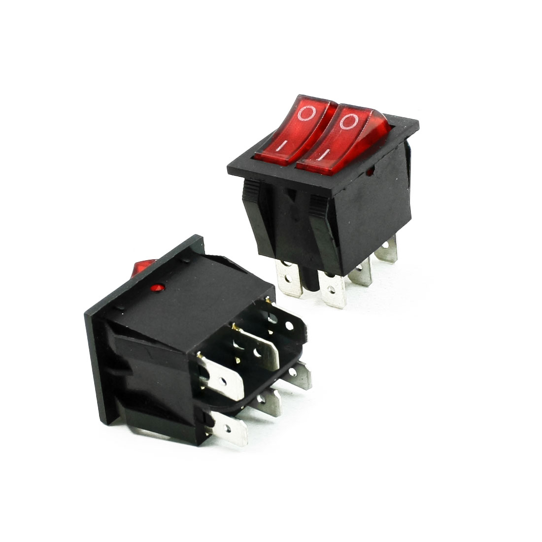2 Pcs 6A/250V 20A/125V AC Red Neon Light SPST ON/OFF Boat Rocker Switch