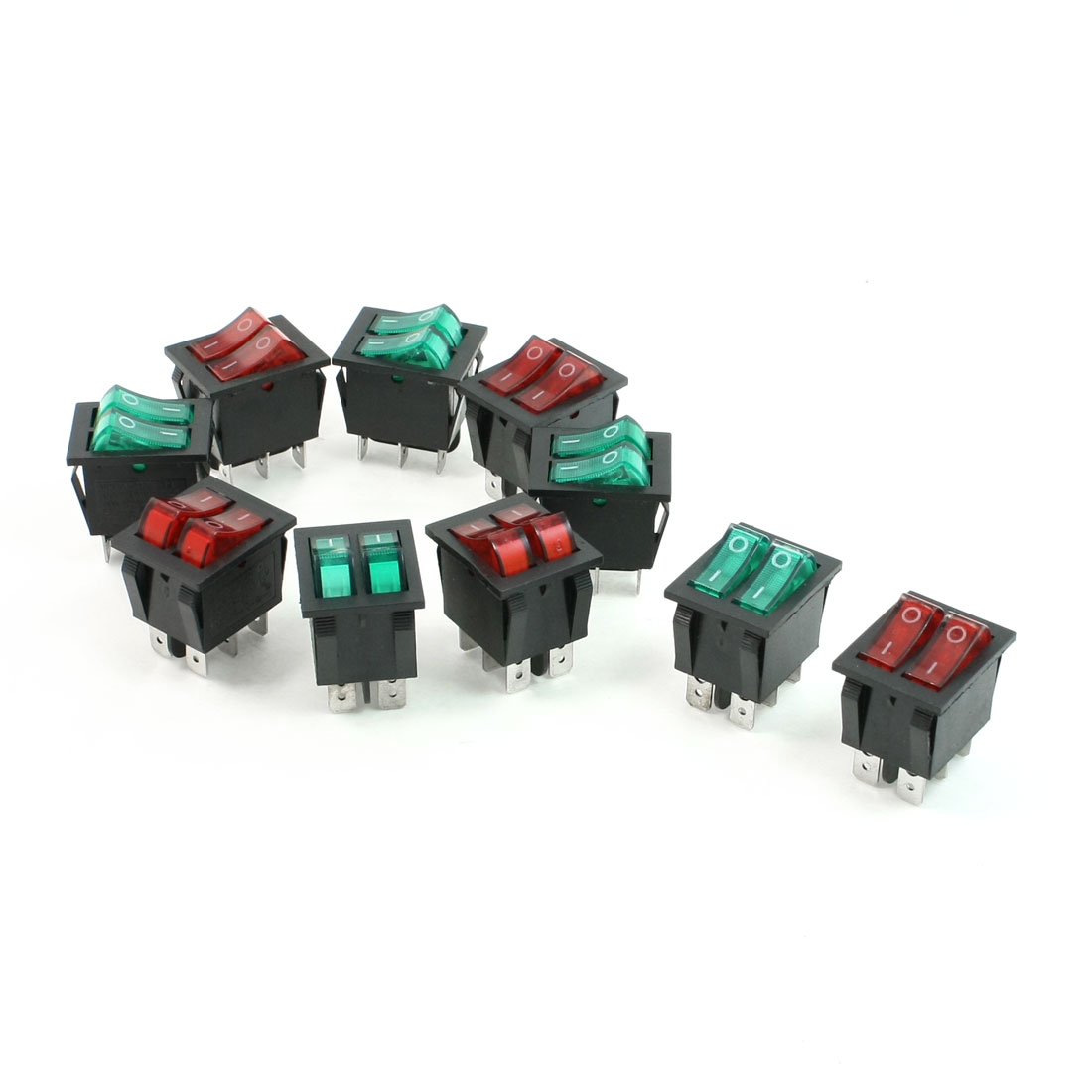 10 Pcs 6A/250V 20A/125V AC Red Green Neon Lamp SPST ON/OFF Boat Rocker Switch