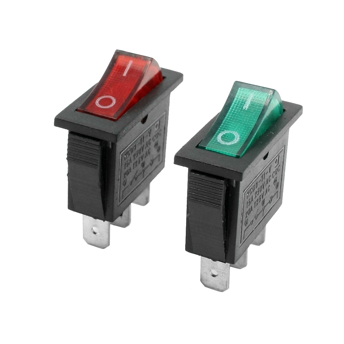 SPST Red Green Light Snap in Rocker Switch AC 15A 250V 125V 20A 2 Pcs