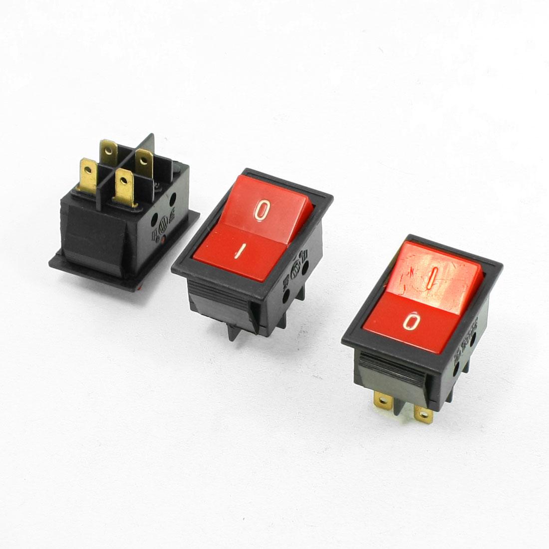 3 Pcs Red Button On/Off DPDT Boat Rocker Switch 6A/250V 10A/125V AC