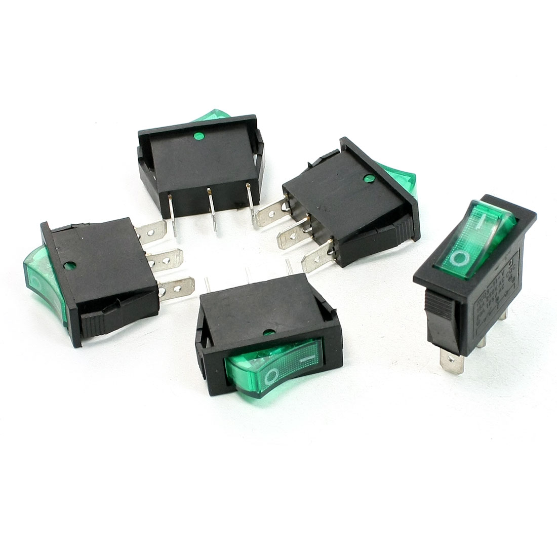 Single Pole Single Throw Green Light Rocker Switch AC 15A 250V 125V 20A 5 Pcs