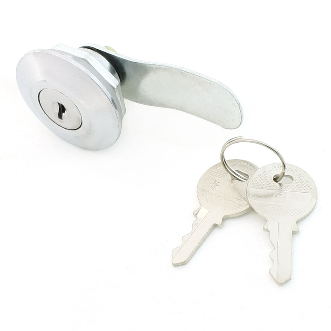 Silver Tone Gasket Double Screw Brass Cupboard Cylindric Lock w 2 Keys