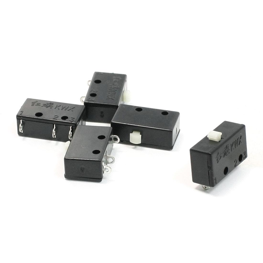 5 Pcs 5A 125V 3A 250V AC Non Locking Button Miniature Micro Switch Black