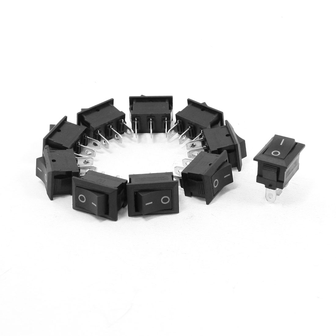 10 Pcs AC 250V 6A AC 125V 10A 3 Terminals SPDT Black Button Rocker Switch