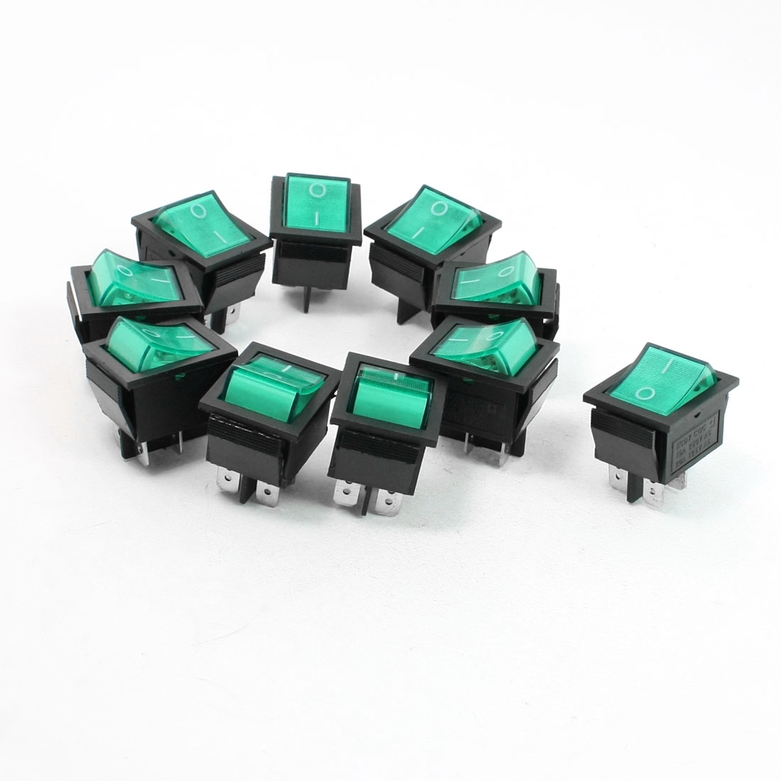 Green Neon Light DPST ON/OFF Snap in Rocker Switch AC 10A 250V/20A 125V 10 Pcs