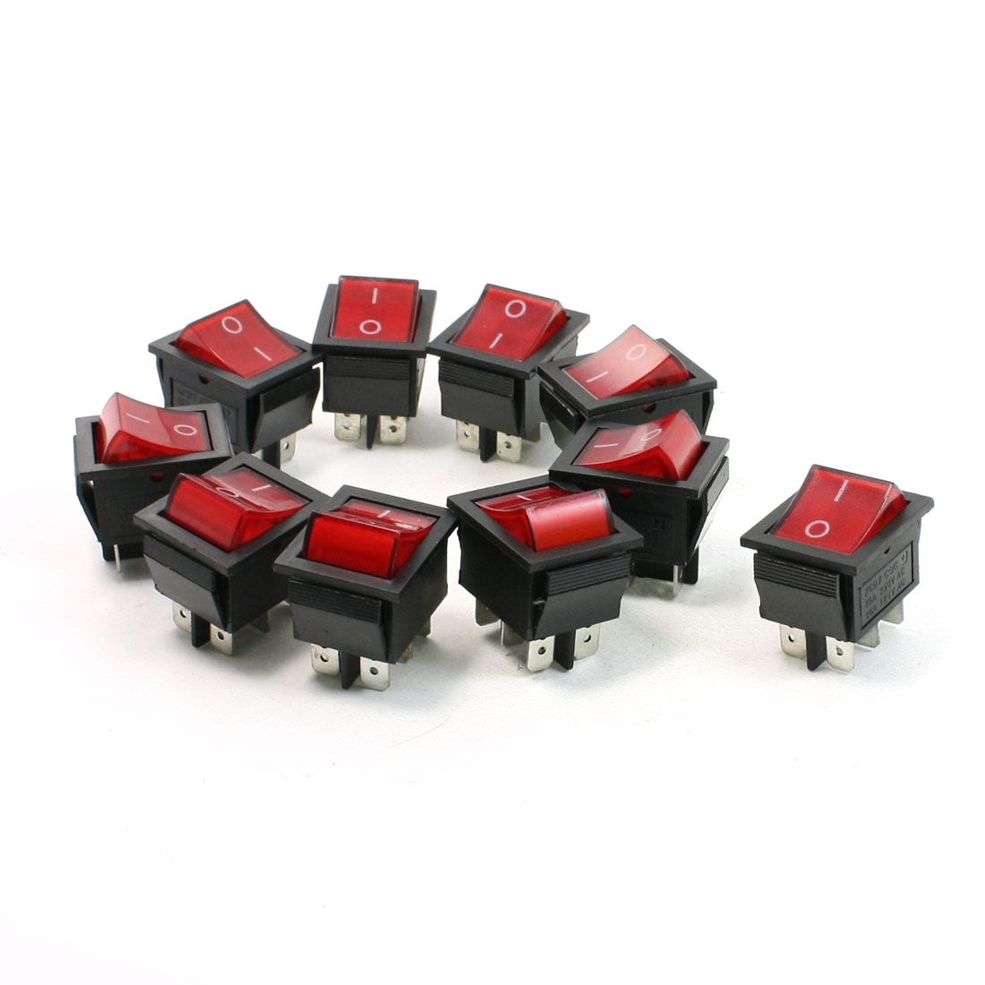 AC 10A 250V/20A 125V Red Neon Lamp 4 Pin DPST ON/OFF Rocker Switch 10 Pcs
