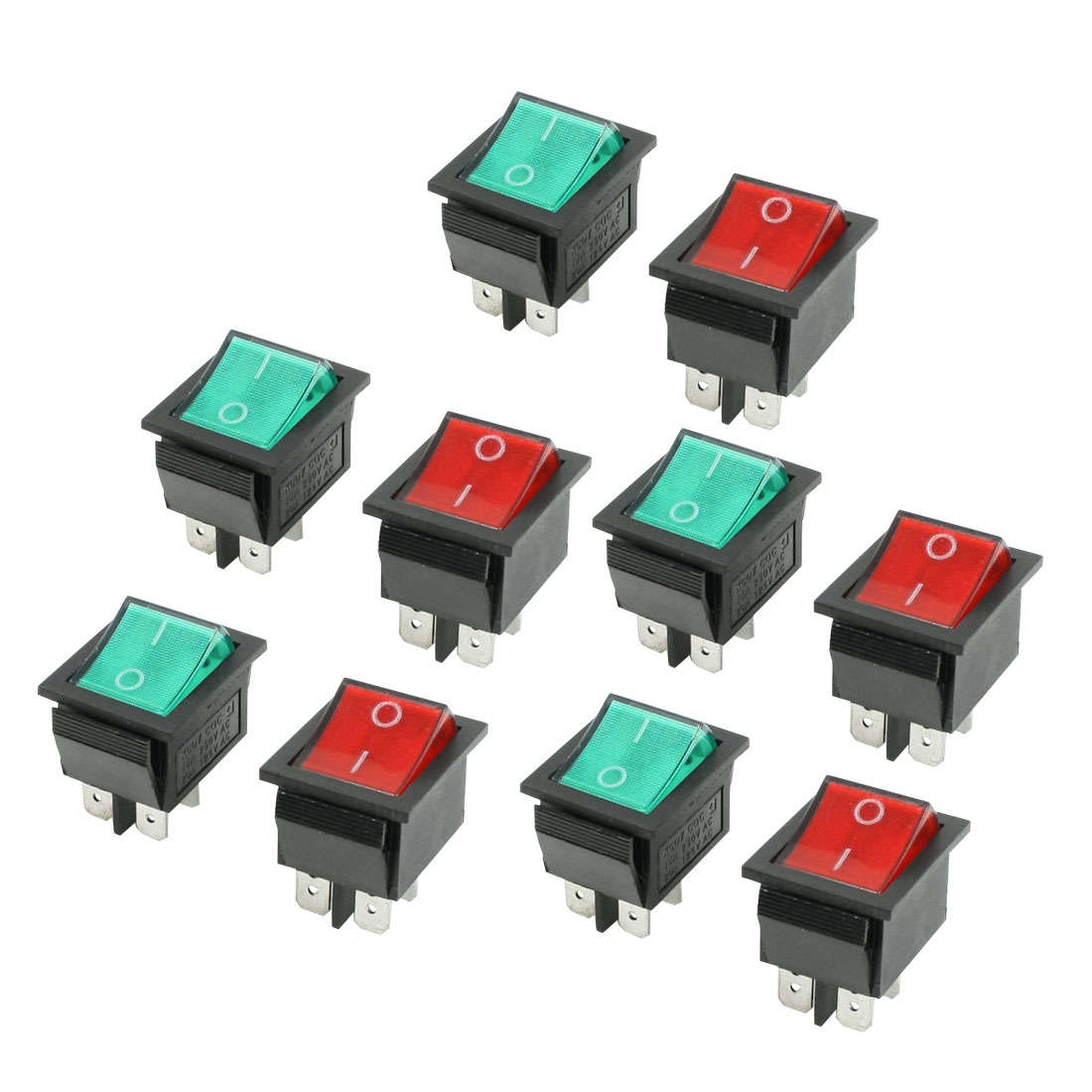 10 Pcs Red Green Illuminated Lamp On/Off Boat Rocker Switch AC 10A 250V/20A 125V