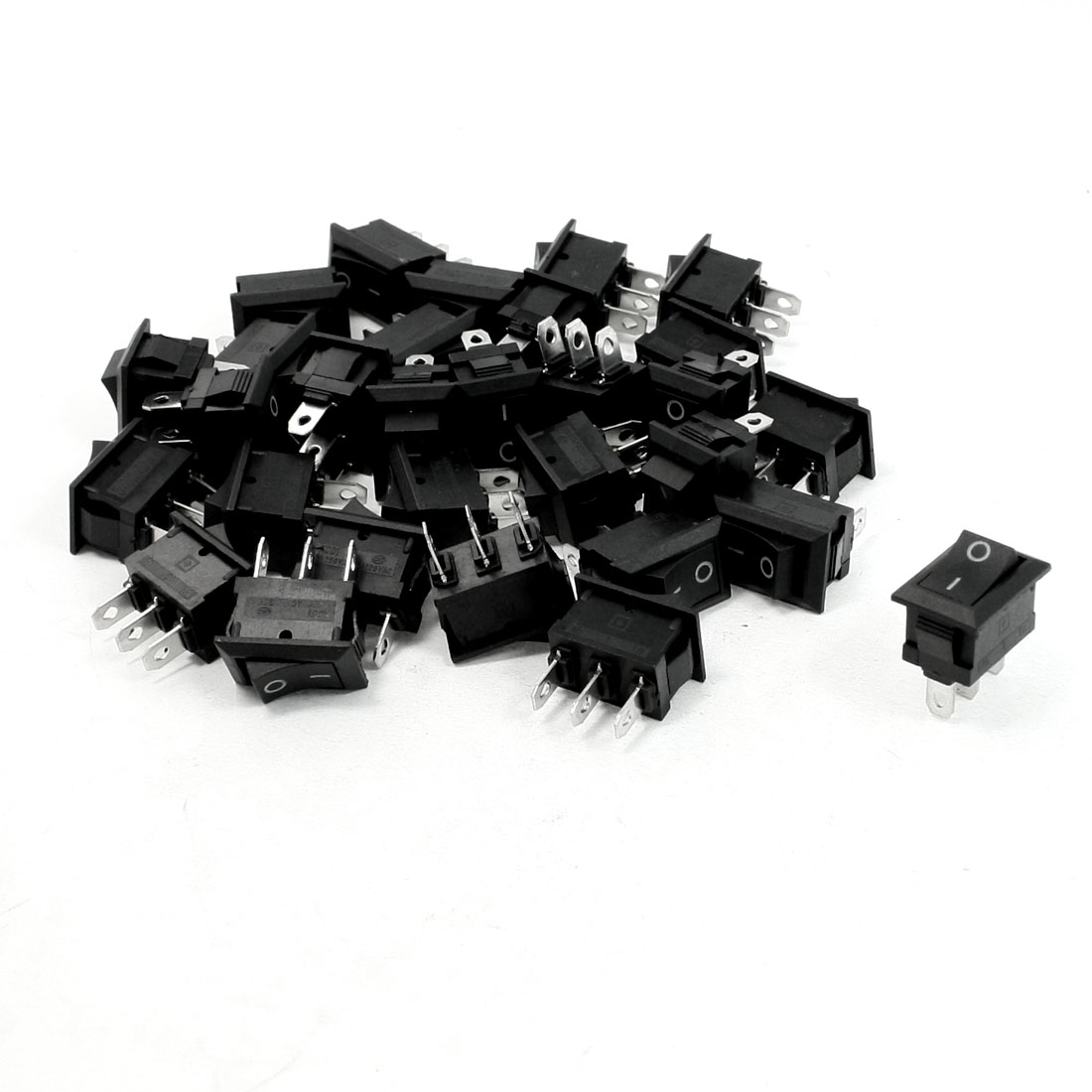 30 Pcs AC 250V 6A AC 125V 10A 2 Terminals SPDT Black Button Rocker Switch