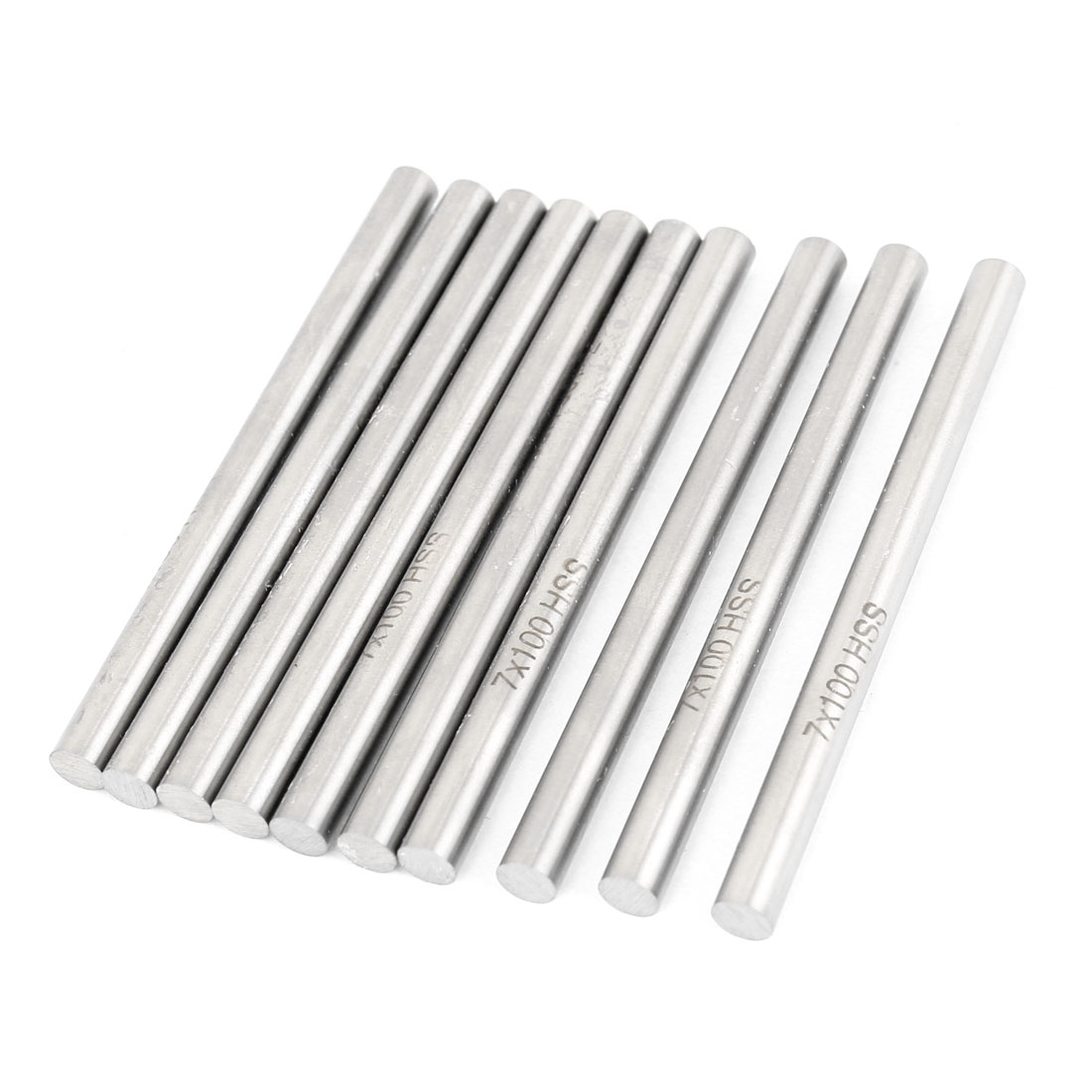 7mm x 100mm Graving Tool Round Turning Lathe Bars Silver Tone 10 Pcs