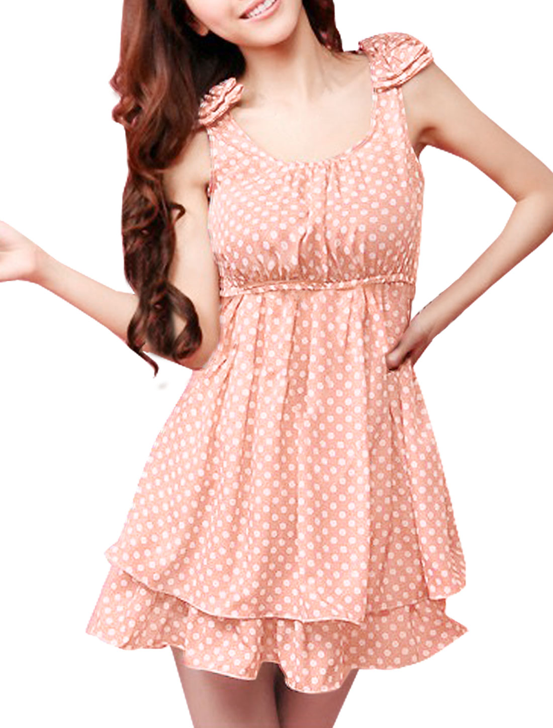 Woman Bowknot Decor Shoulder Elastic Waist Light Pink Mini Dress M