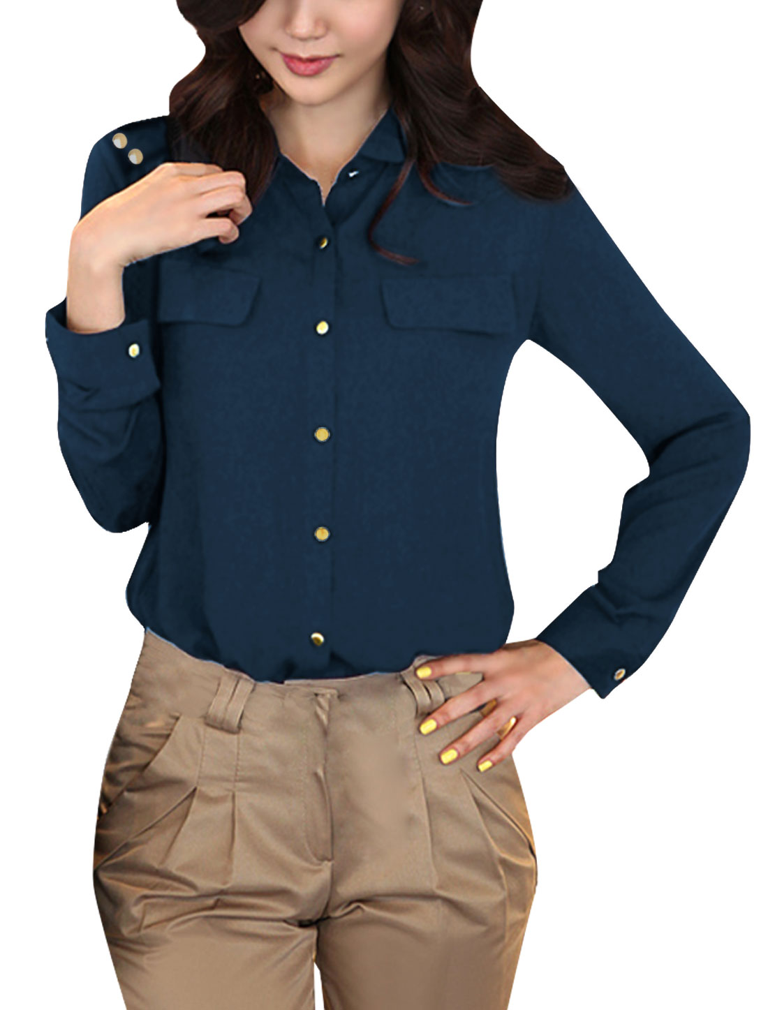 Woman Chic Point Collar Long Sleeve Pure Dark Blue Button Down Shirt XS