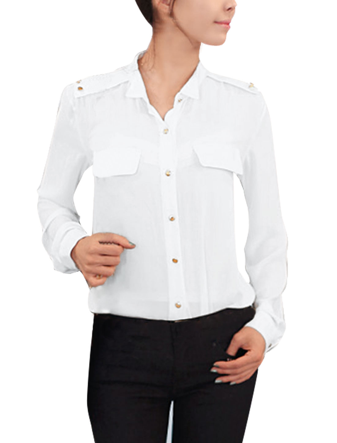 Chic Button-Tab Epaulets Design Pure White Button Dwon Shirt for Lady M