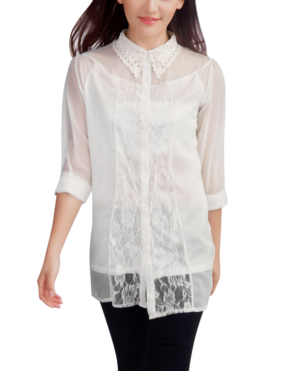 Woman Fashion Crochet Panel Point Collar Button Front White Blouse XS
