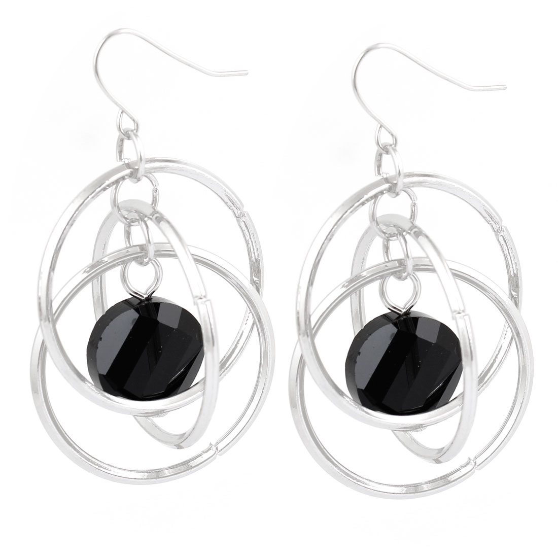 Silver Tone 3 Circles Black Beads Pendant Fish Hook Earrings Pair