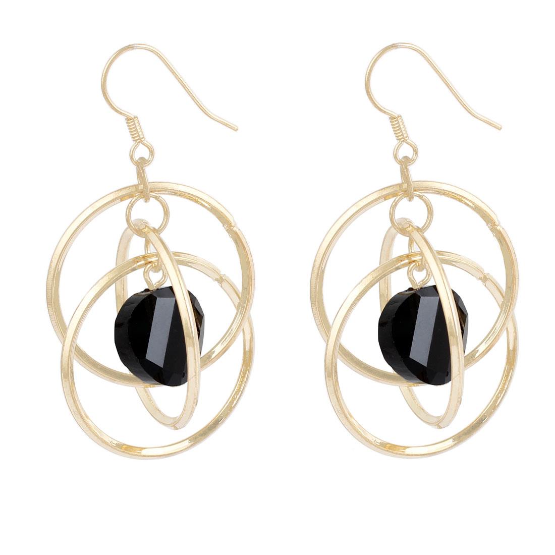 Black Bead Three Gold Tone Circles Pendant Fish Hook Earrings Eardrop Pair