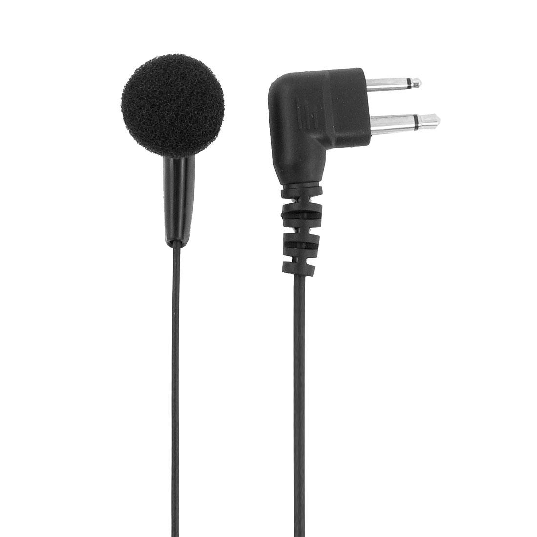 2.5mm 3.5mm Jack Single Side Headset Earphone Black w Clip for Two Way Radio