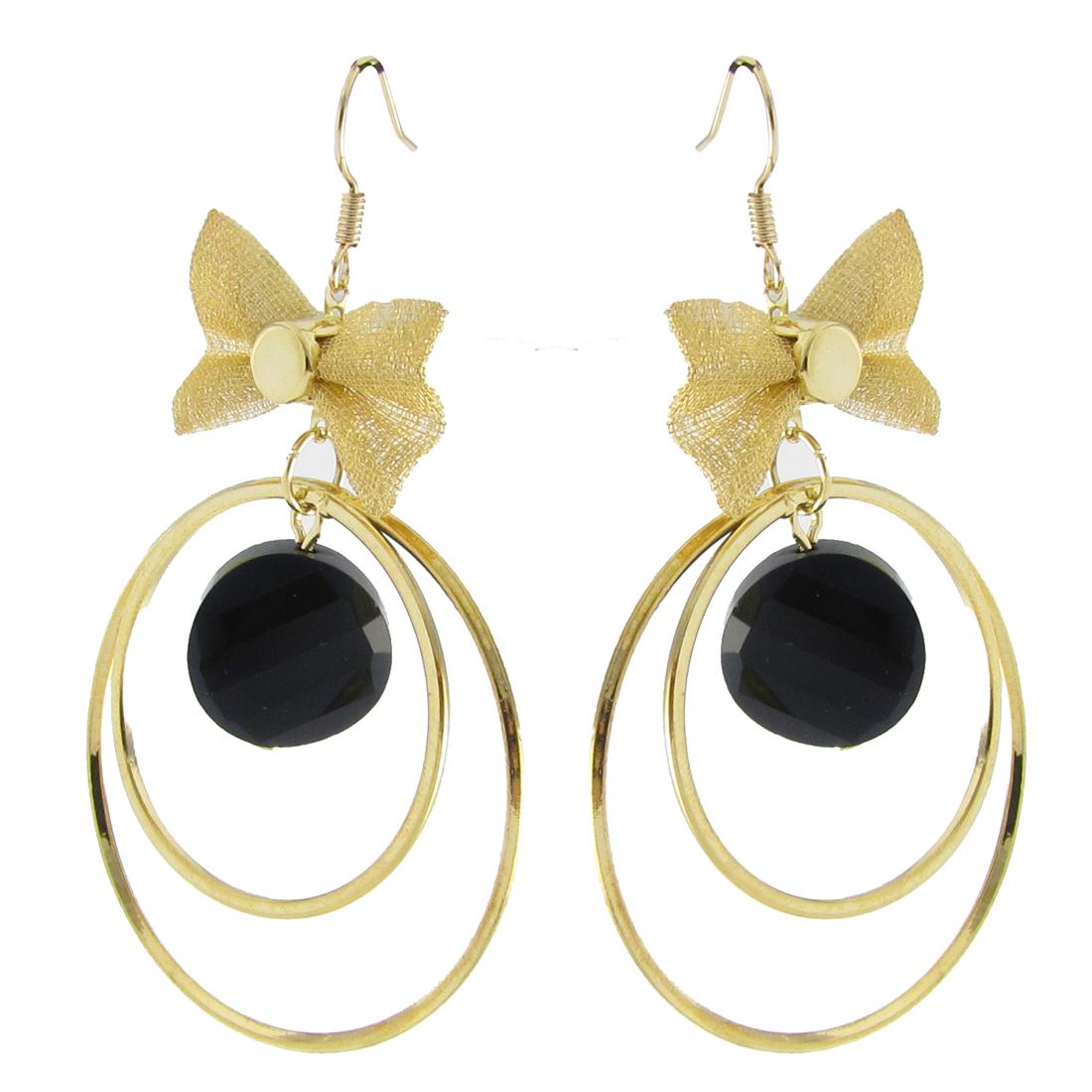 Metal Mesh Bow Tie Gold Tone 2 Circles Pendant Dangling Fish Hook Earrings Pair