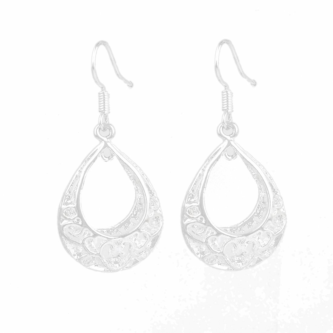 Silver Tone Drop Pendant Dangling Eardrop Fish Hook Earrings Pair