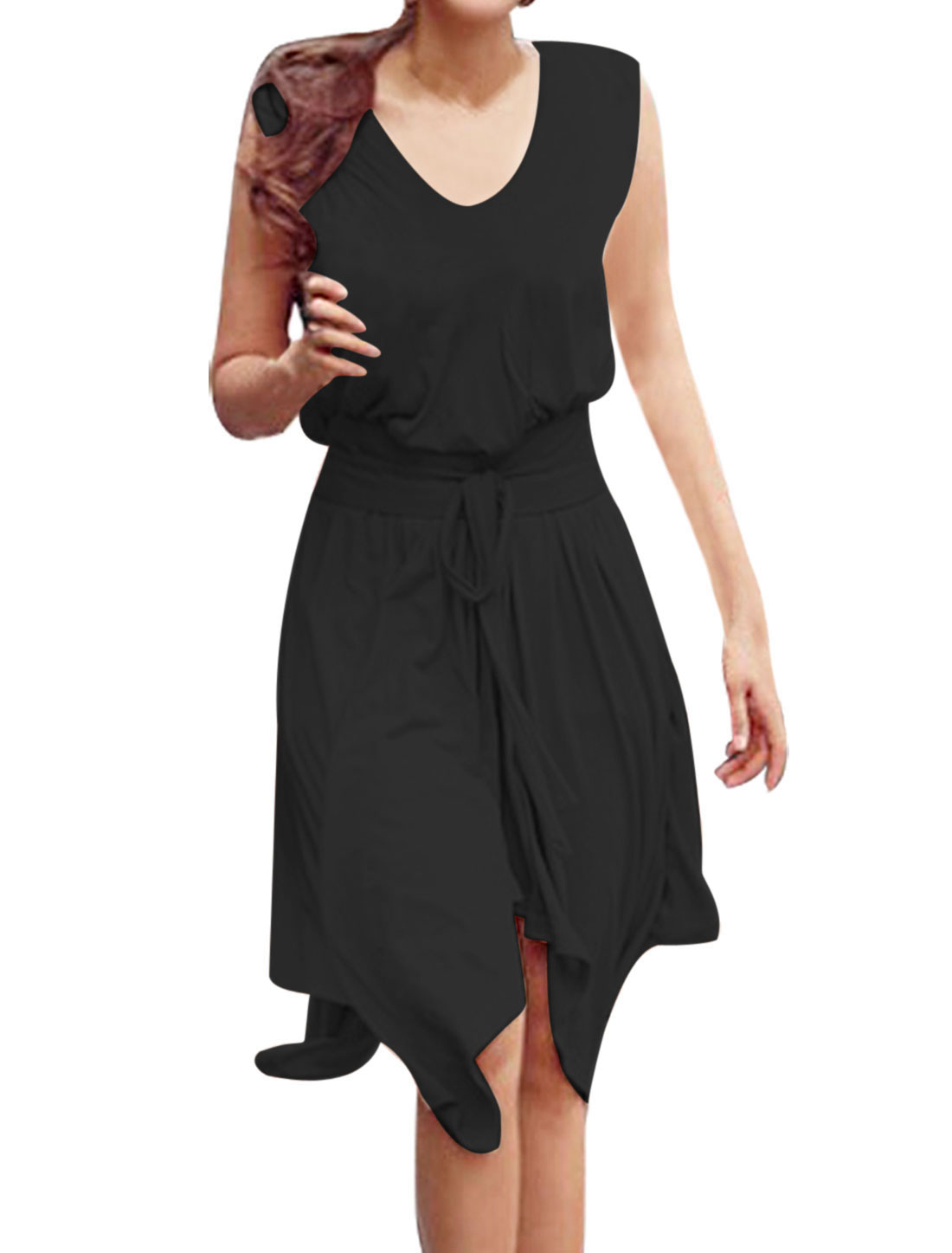 Ladies Chic V Neck Solid Color Irregular Hem Design Black Dress M