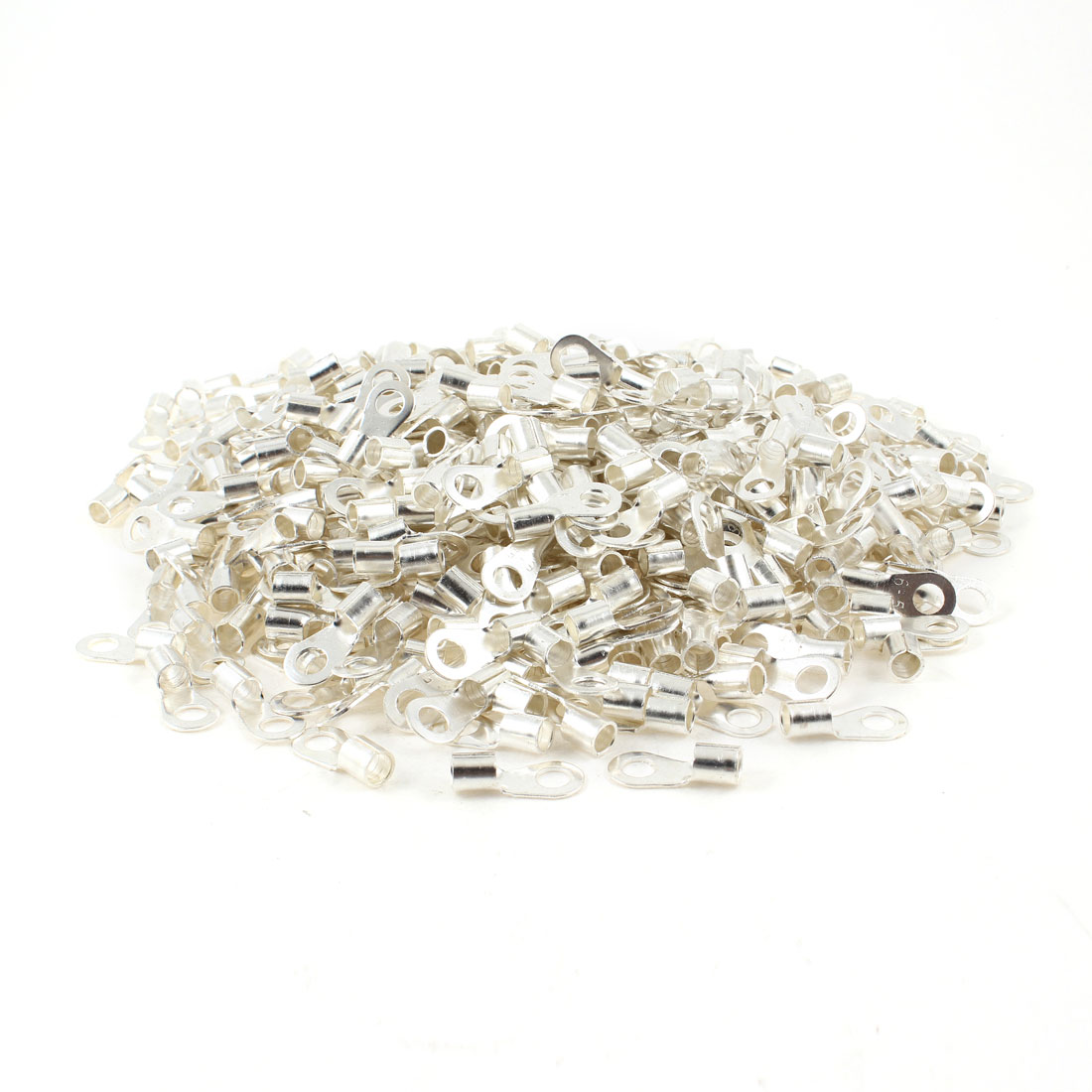 "1000pcs 1/5"" Stud 3/25"" Wire Non Insulated Bare Ring Lug Terminal Connector"