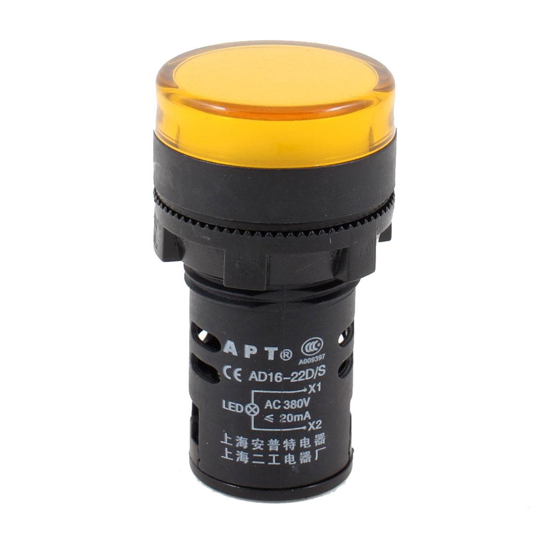AC 380V 20mA Plastic LED Signals Light Lamp Yellow AD16-22D/S
