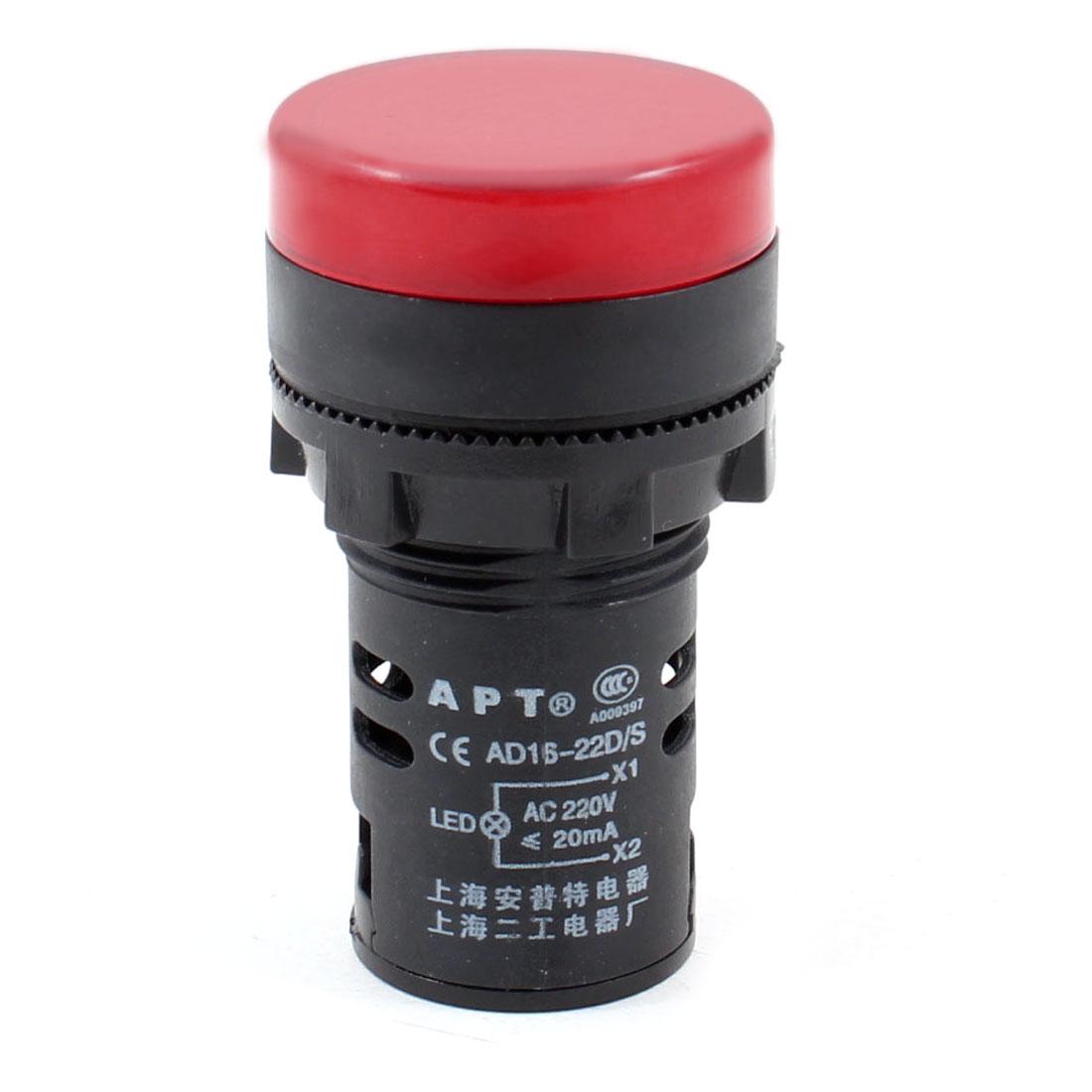 AC 220V 20mA Plastic LED Signals Light Lamp Red AD16-22D/S