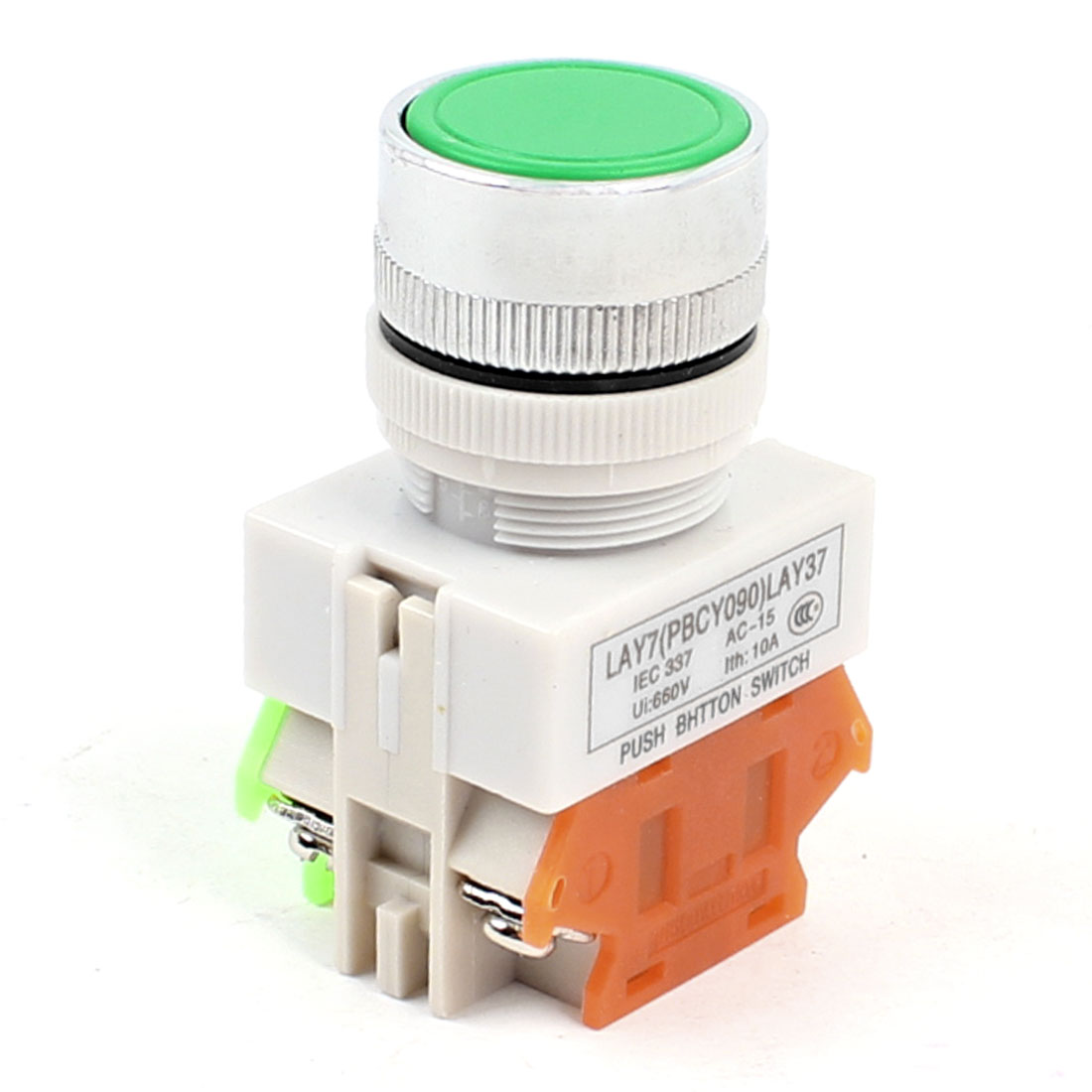 Green Round Cap 1NO 1NC Non Locking Push Button Switch AC 660V 10A