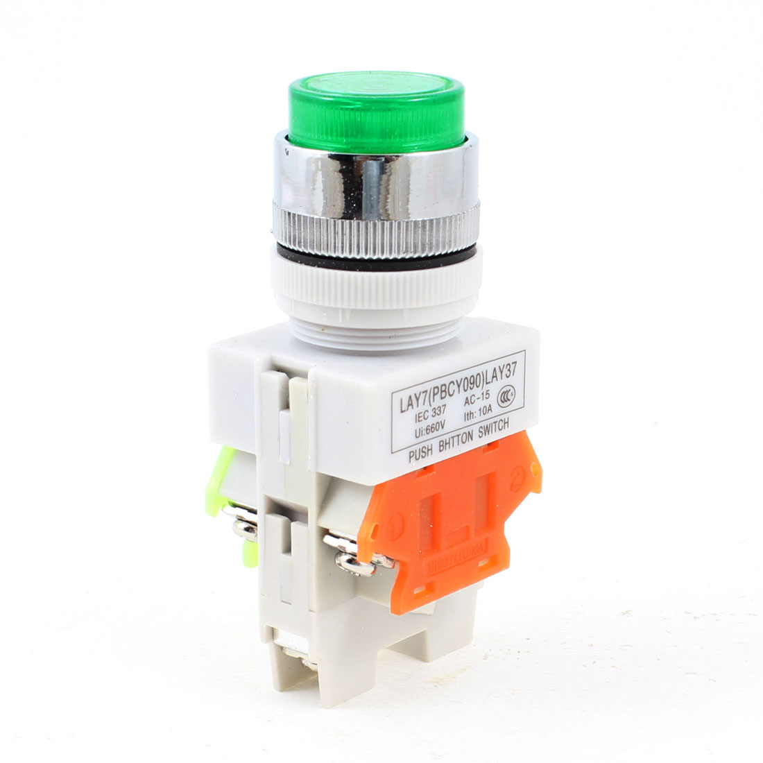 AC 660V 10A 1NO 1NC 6 Terminal Green Latching Pushbutton Switch Y090-11DN
